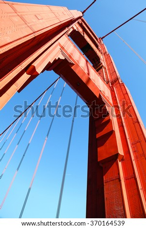 Golden gate bridge tower from below with blue sky