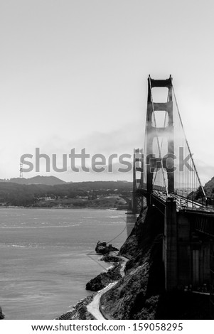 Golden Gate Bridge, view from north, black and white - stock photo