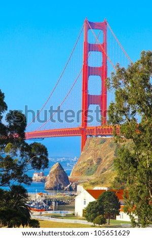 Golden Gate Bridge, view from the north side looking toward San Francisco - stock photo