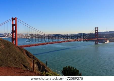 Golden Gate Bridge, View towards San Francisco, California - stock photo