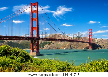 Golden gate bridge vivid day landscape, San Francisco - stock photo