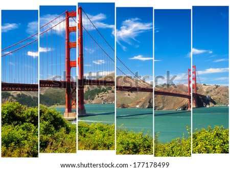 Golden gate bridge vivid landscape view in stripes, San Francisco, USA - stock photo