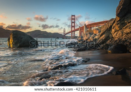 Golden Gate Bridge with different view from Marshall Beach - stock photo