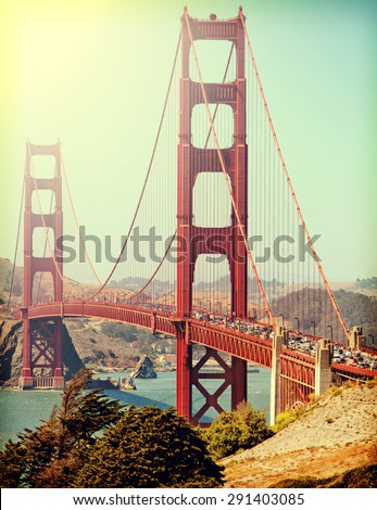 Golden Gate Bridge with Instagram retro style filter - stock photo