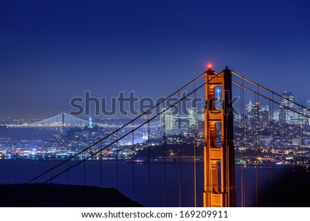 golden gate bridge with san francisco city light