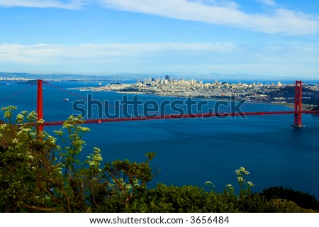Golden Gate Bridge with San Francisco in the background - stock photo