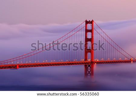 Golden Gate in Fog - stock photo