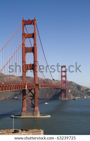 Golden Gate,San Fransisco in Sunny day .Vertical Format - stock photo