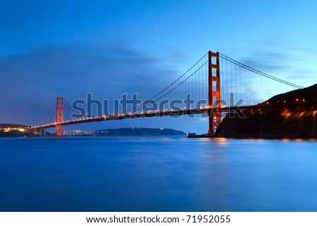 Golden Gate shortly after sunset - stock photo