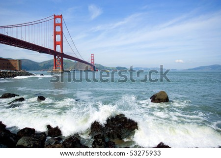Golden Gate with blue sky - stock photo
