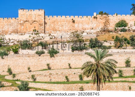 Golden gates of Jerusalem on the east wall of the old town - stock photo