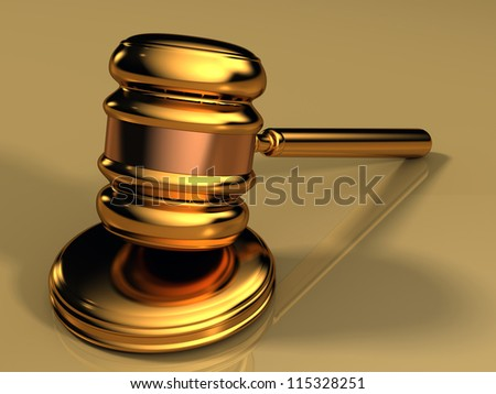 Golden gavel isolated against a gold background with reflections - stock photo