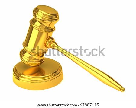 Golden gavel isolated on white - stock photo