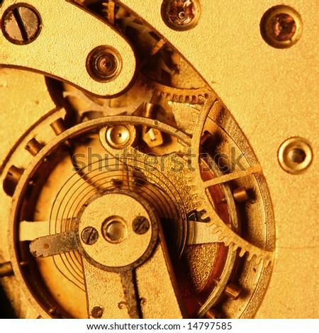 golden gear macro close up - stock photo