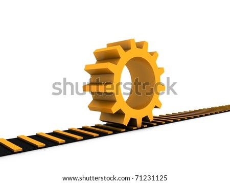 golden gear on railway