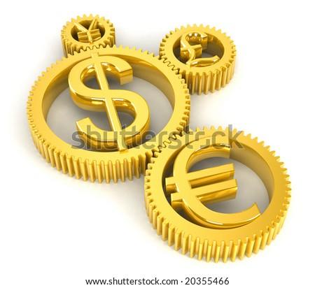 Golden gears - stock photo