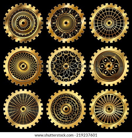 golden gears set in the style of steampunk - stock photo