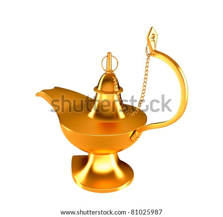 Golden Genie lamp isolated over white background - stock photo
