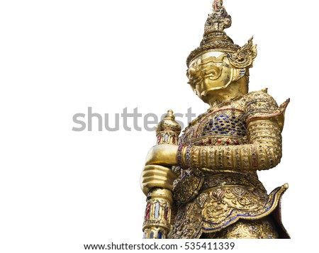 Golden Giant Sculpture at Emerald Buddha Temple Isolated on White Background