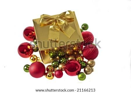 Golden gift at christmas isolated on white