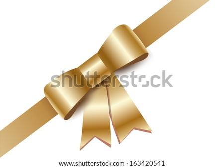Golden gift bows with ribbon  - stock photo