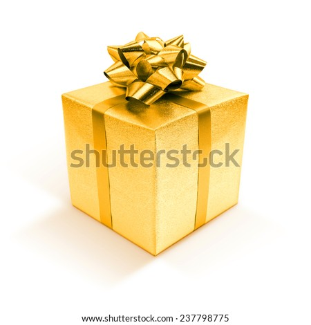 Golden gift box isolated on white background