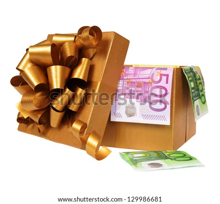Golden gift box with euro money - stock photo
