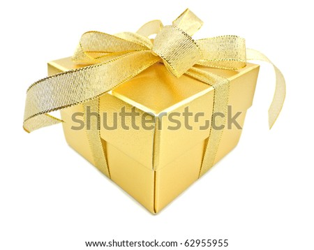 Golden gift box with golden ribbon on white background - stock photo