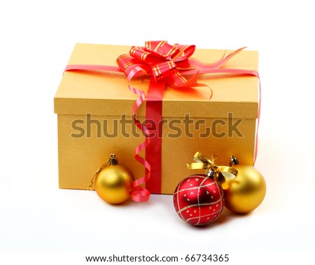 golden gift box with red bow isolated on white