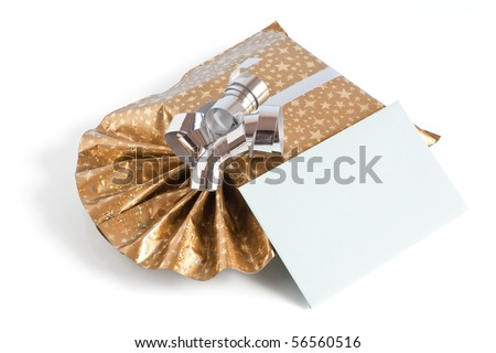 golden gift box with silver ribbon and green letter  isolated on white background with clipping path - stock photo