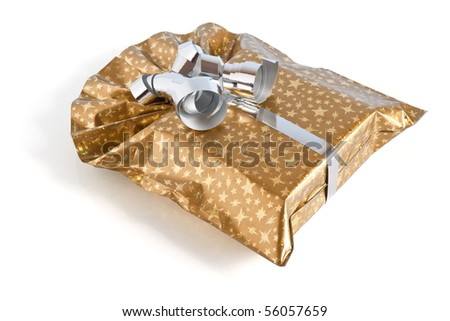 golden gift box with silver ribbon isolated on white background with clipping path - stock photo