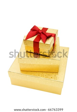 Golden gift boxes - stock photo