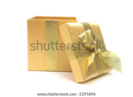 golden gift opened up over white    Can simply add something into the box - stock photo