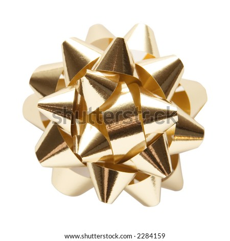 Golden gift ornament star isolated with clipping path over white background - stock photo