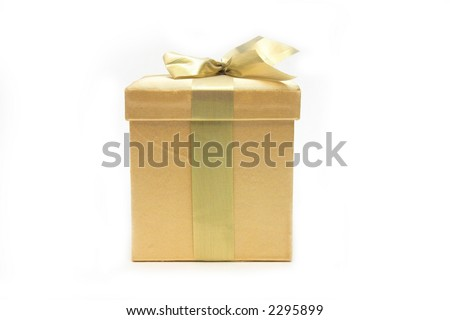 golden gift over white - stock photo