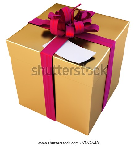 Golden gift  with  red bow and blank paper tag. isolated on white. - stock photo