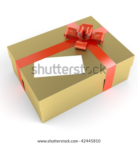Golden gift with red ribbon and a white label as copy space for your own text, clipping path included for exact isolation - stock photo