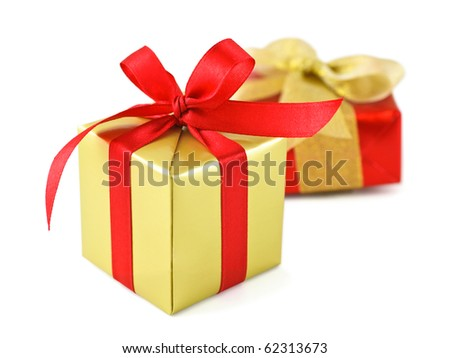 Golden gift wrapped presents red satin stock photo royalty free golden gift wrapped presents with red satin ribbon bow on white negle Images