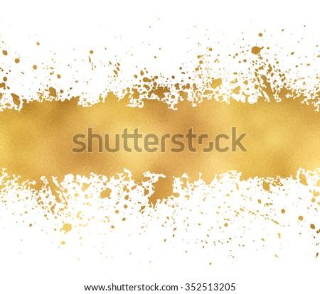 Golden glitter banner leaf foil, splash texture with copyspace - stock photo