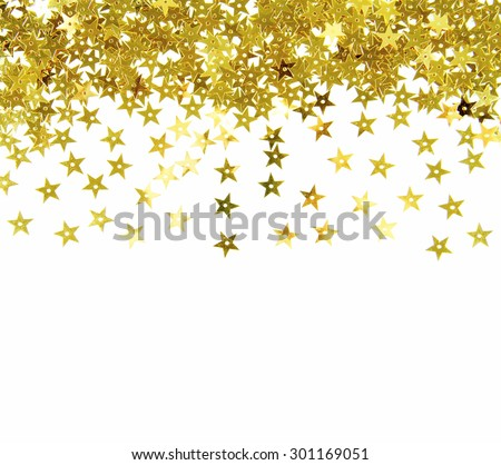 golden glitter frame background - stock photo