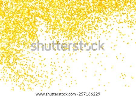 golden  glitter sparkle on white  background - stock photo