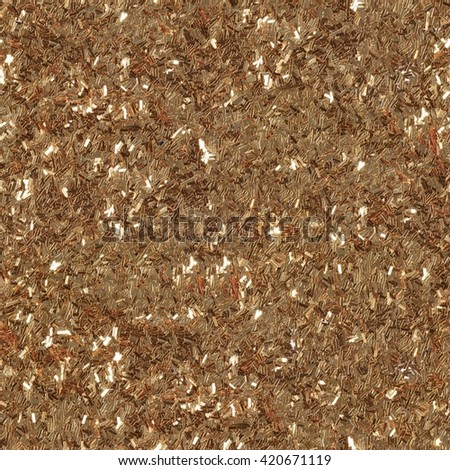 Golden glitter texture, abstract background. Low contrast photo. Seamless square texture. Tile ready. - stock photo