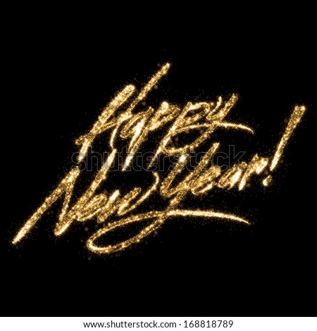 "Golden Glittering Writing ""Happy New Year""  - stock photo"