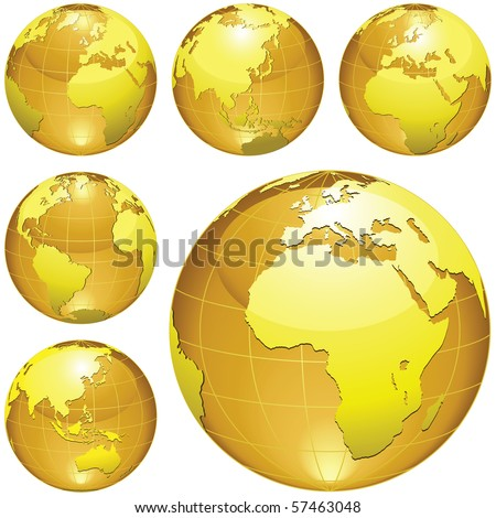 Golden Globe isolated on a white background. - stock photo
