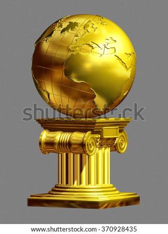 golden Globe on pedestal, Mother earth as an art piece, one global world - stock photo