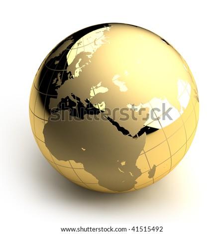 Golden Globe on white background - stock photo