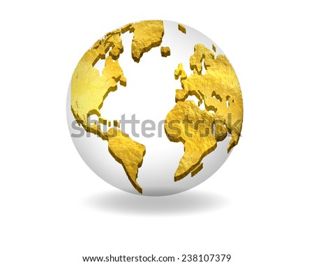 Golden glossy Earth icon isolated on background - stock photo