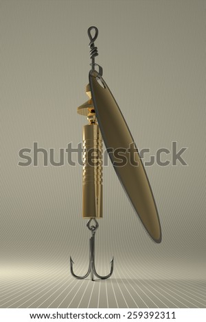 Golden glossy in-line spinner lure with treble hook on gray checkered background - stock photo