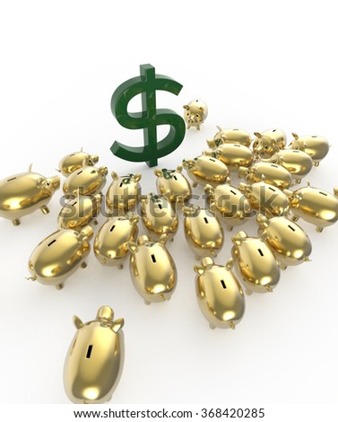 golden glossy piggybank pigs crowding around green dollar sign. metaphor of financial savings in crisis. high quality 3d render - stock photo