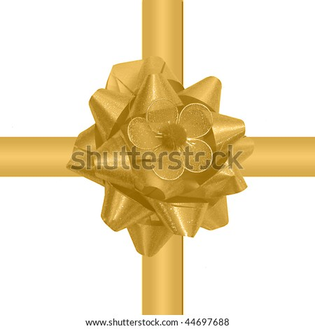 Golden glossy ribbon isolated on white background